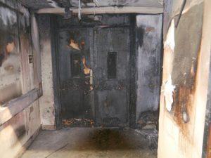 Burnt fire doors
