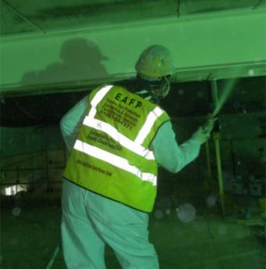 Workman spraying paint